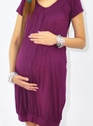 Tunic banded bamboo maternity dress funky muma plum