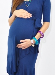 Evita ink blue bamboo pregnant dress funky muma breastfeeding pregnancy maternity wear