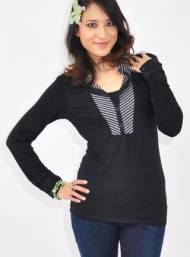 Knit contrast top nursing funky muma breastfeeding pregnancy maternity wear
