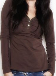 Lace henley coffee longsleeve 2 funky muma breastfeeding pregnancy maternity wear