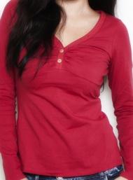 Lace henley dark red long sleeve nursing funky muma breastfeeding pregnancy maternity wear