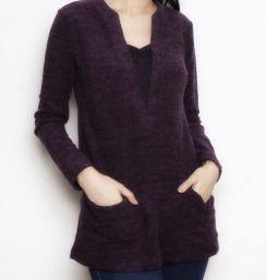 Two tone sweater nursing aubergine funky muma breastfeeding pregnancy maternity wear