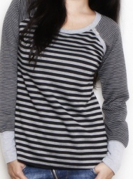 Scoopneck stripes black and grey top nursing funky muma breastfeeding pregnancy maternity wear